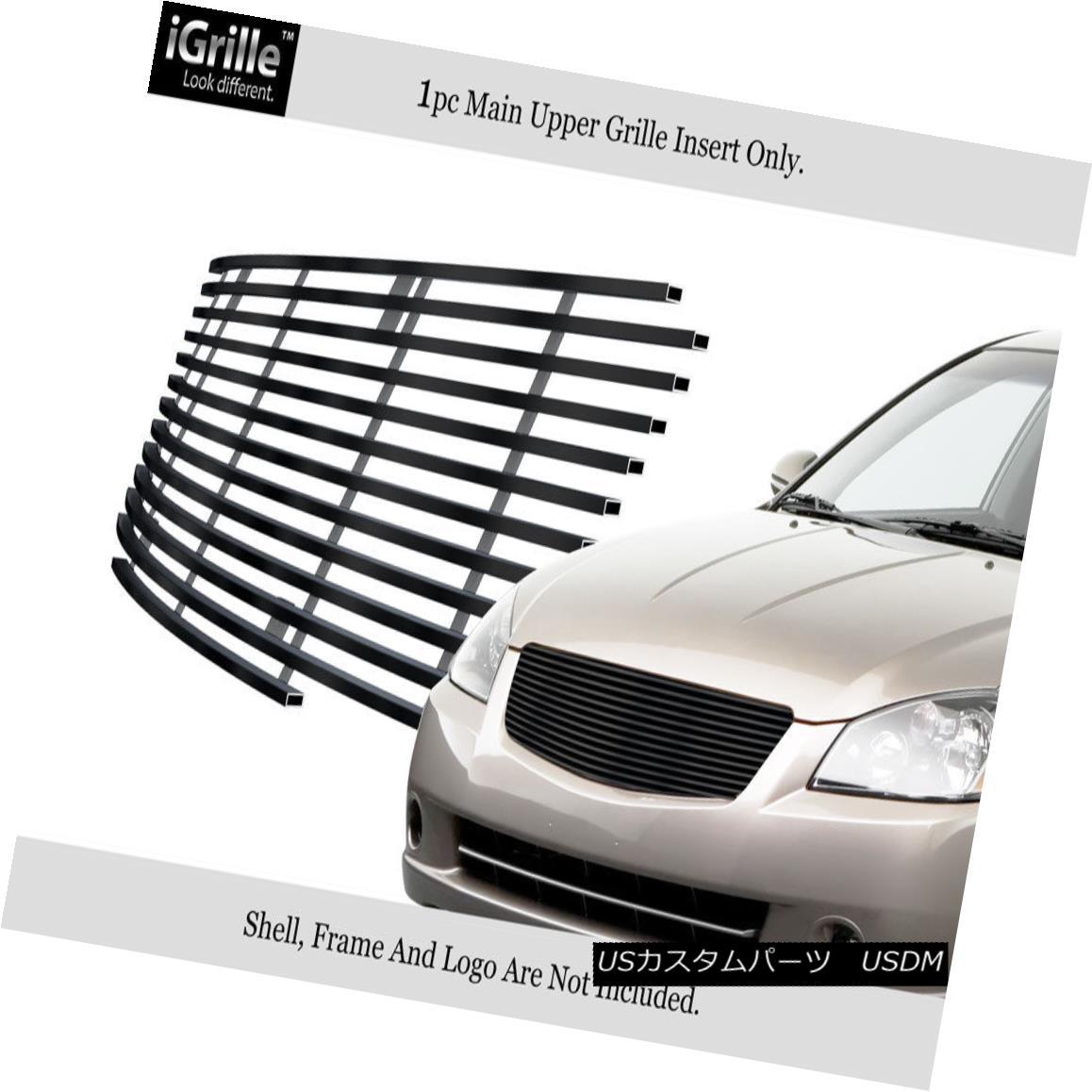 グリル Fits 2005-2006 Nissan Altima Stainless Steel Black Billet Grille Insert 2005-2006 Nissan Altimaステンレススチールブラックビレットグリルインサート