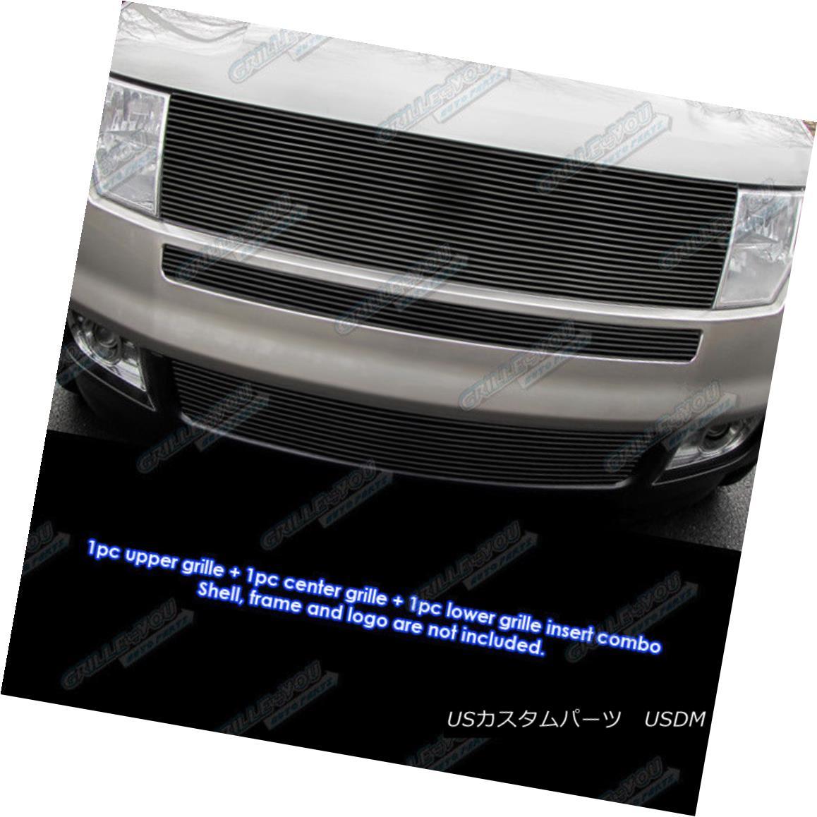 グリル Fits 2007-2010 Ford Edge Black Upper and Bumper Combo Black Billet Grille フィット2007年?2010年フォードエッジブラックアッパーとバンパーコンボブラックビレットグリル