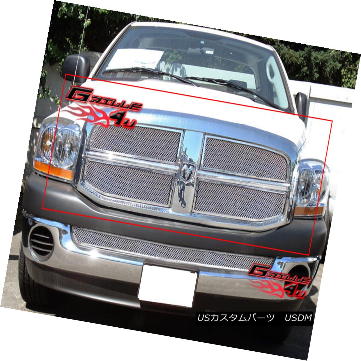 グリル Fits 2006-2008 Dodge Ram Stainless Steel Mesh Grille Insert 2006-2008 Dodge Ramステンレスメッシュグリルインサートに適合