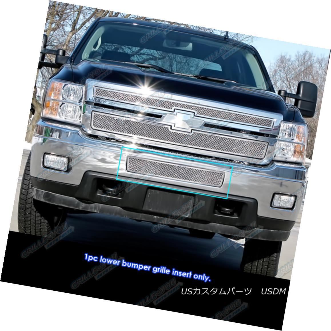 グリル Fits 2011-2014 Chevy Silverado 2500HD/3500HD Stainless Bumper Mesh Grille フィット2011-2014シボレーシルバラード2500HD / 3500HDステンレスバンパーメッシュグリル