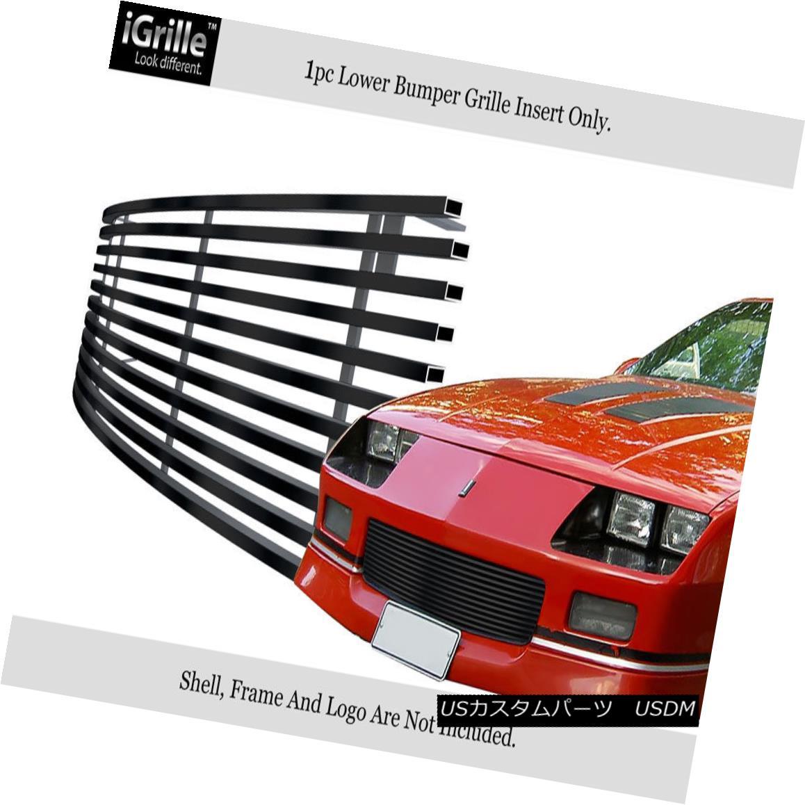 グリル Fits 1988-1992 Chevy Camaro Bumper Black Stainless Steel Billet Grille フィット1988-1992シボレーカンパニーバンパー黒ステンレス鋼ビレットグリル