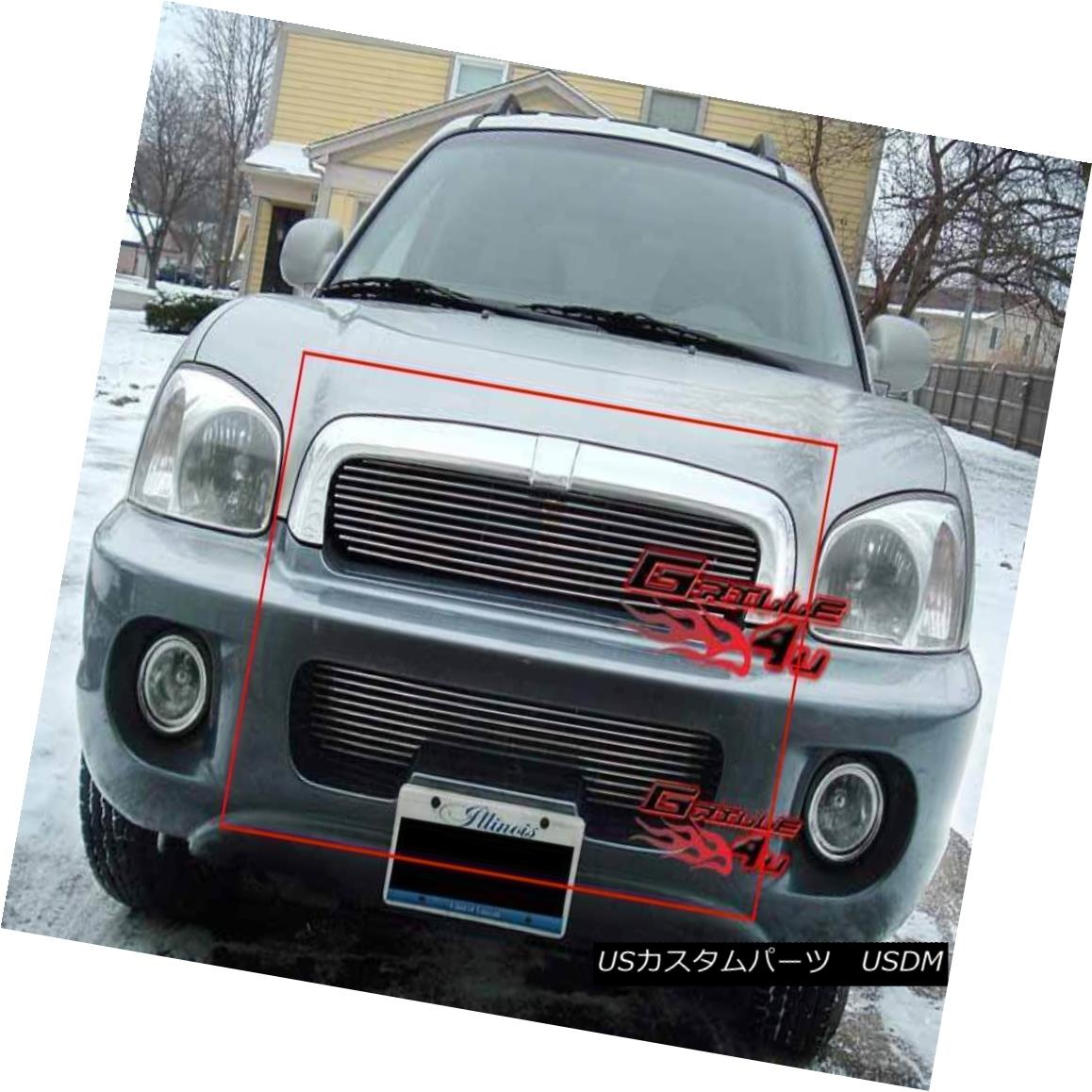 グリル Fits 2001-2004 Hyundai Santa Fe Billet Grille Combo 2001-2004現代サンタフェビレットグリルコンボに適合