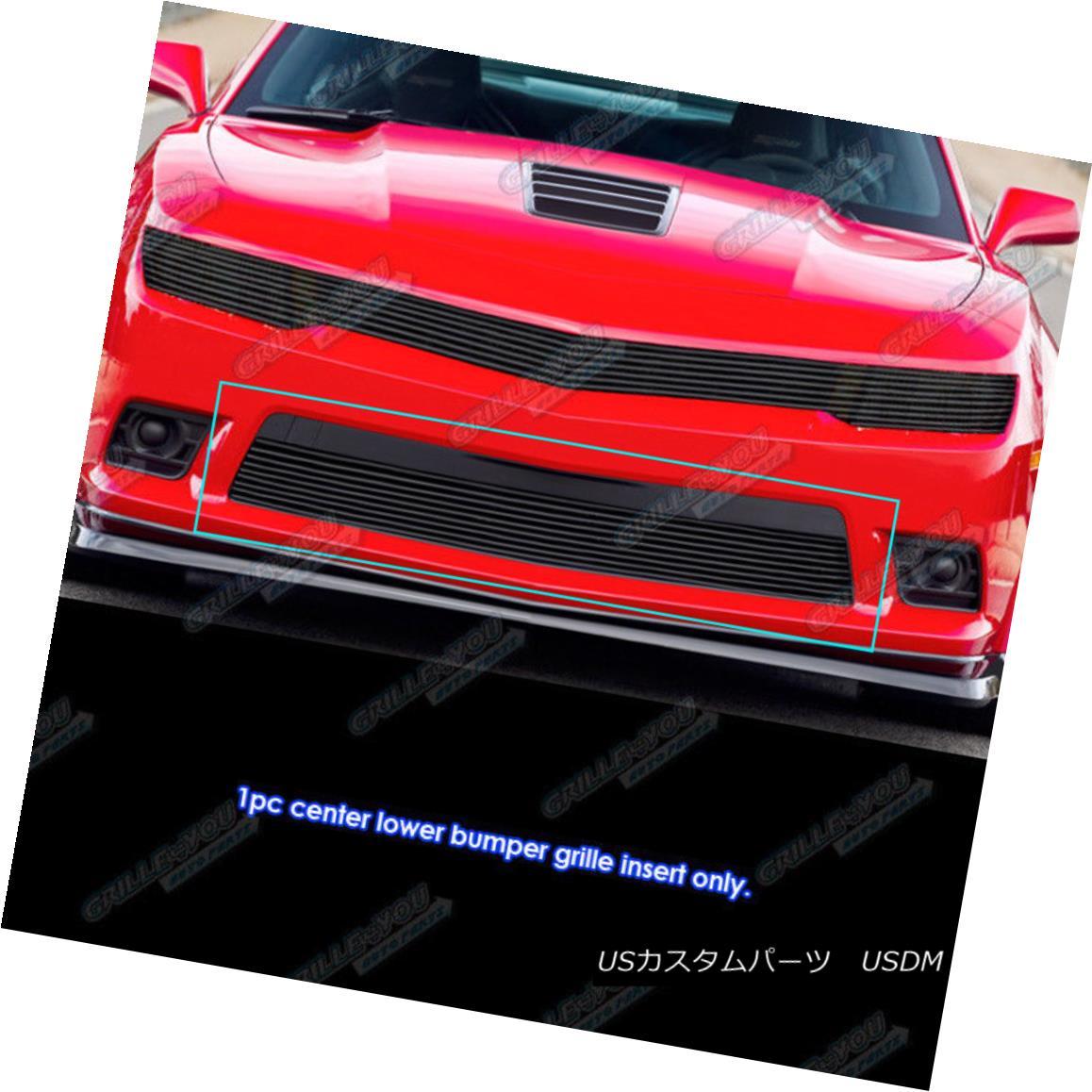 グリル Fits 2014-2015 Chevy Camaro LS/LT/LT With RS Package Black Bumper Billet Grille フィット2014-2015シボレーカマロRSパッケージ付きLS / LT / LTブラックバンパービレットグリル