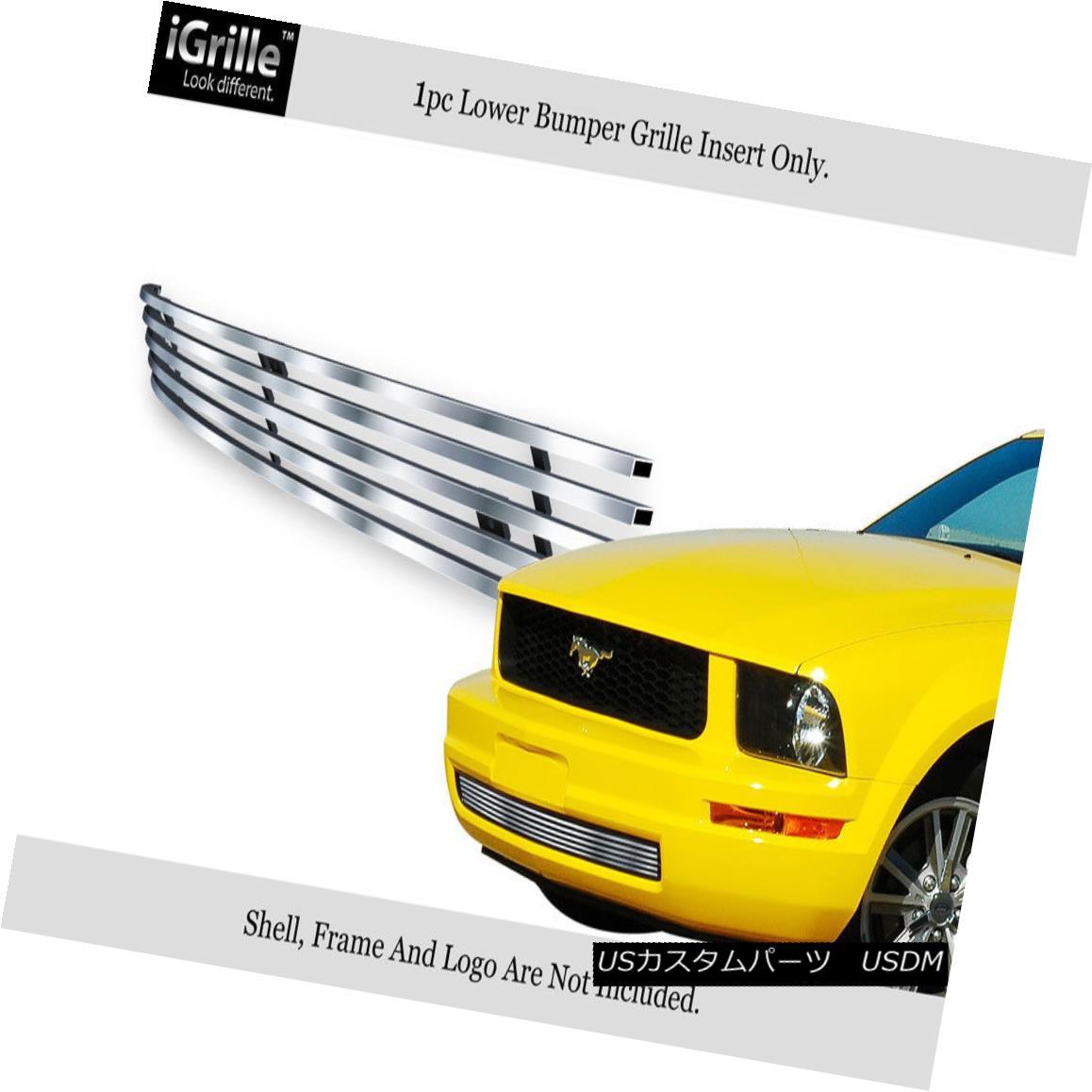 グリル Fits 2005-2009 Ford Mustang V6 Stainless Steel Lower Bumper Billet Grille フィット2005-2009フォードマスタングV6ステンレス鋼ロワーバンパービレットグリル