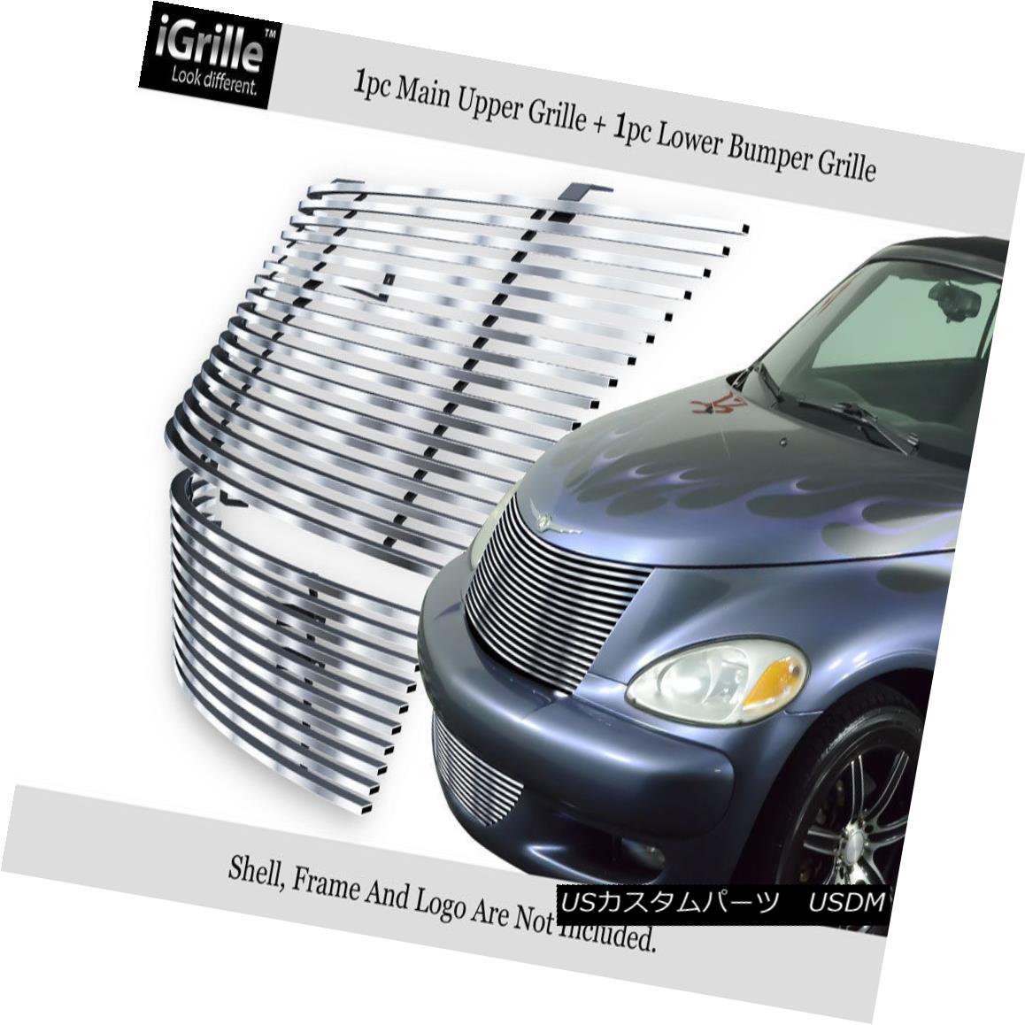 グリル Fits 2000-2005 Chrysler PT Cruiser 304 Stainless Steel Billet Grille Combo 適合2000-2005クライスラーPTクルーザー304ステンレス鋼ビレットグリルコンボ