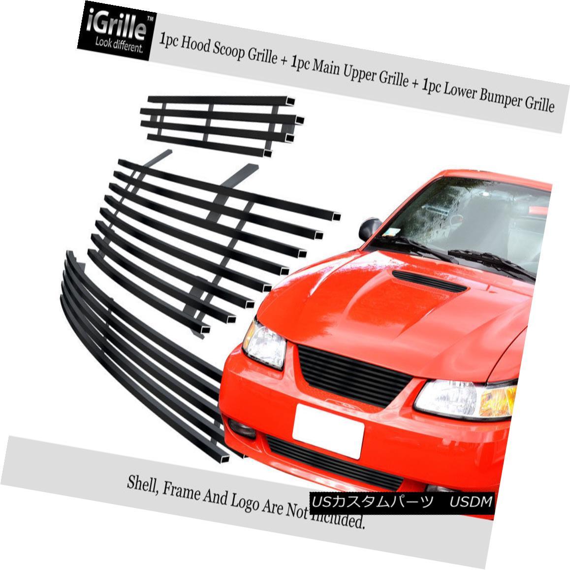 グリル Fits 1999-2004 Ford Mustang Stainless Black Billet Grille Combo フィット1999-2004フォードマスタングステンレスブラックビレットグリルコンボ