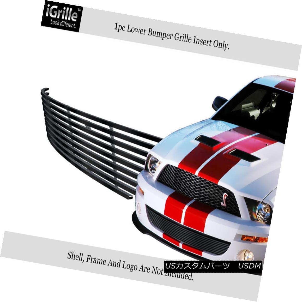 グリル Fits 07-09 Ford Shelby GT 500 Bumper Stainless Steel Black Billet Grille フィット07-09フォードシェルビーGT 500バンパーステンレススチールブラックビレットグリル
