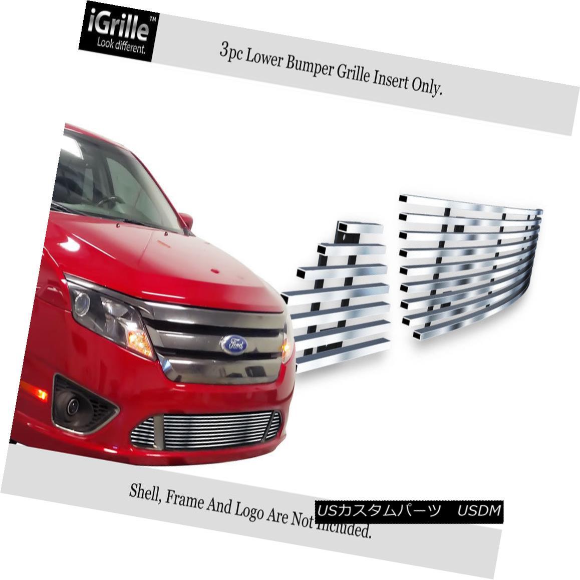 グリル Fits 2010-2012 Ford Fusion Sport Bumper Stainless Steel Billet Grille フィット2010年から2012年フォードフュージョンスポーツバンパーステンレス鋼ビレットグリル