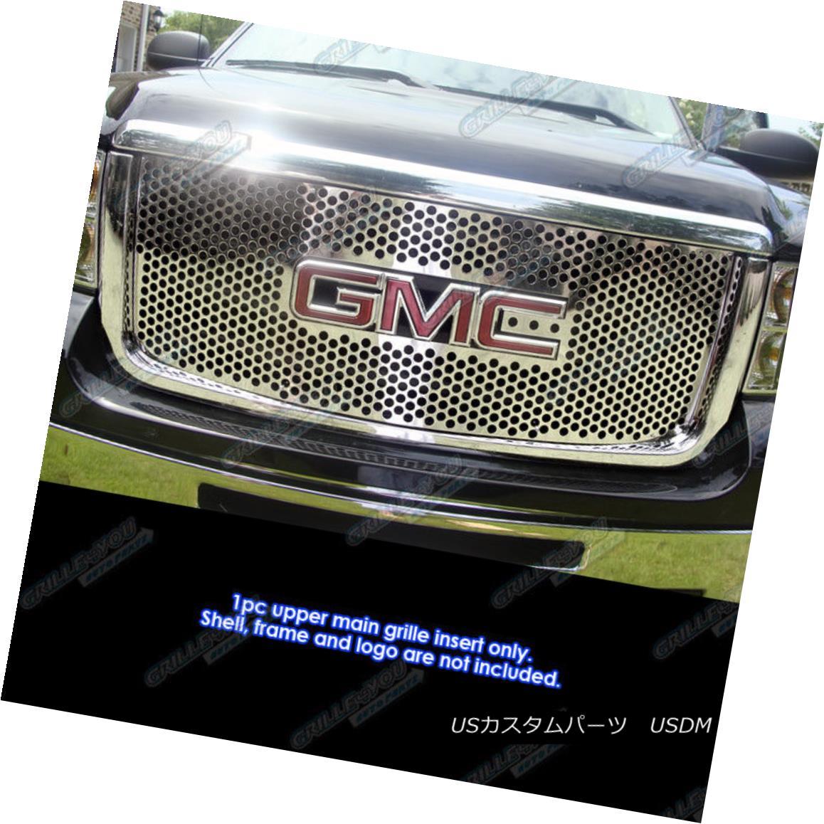 グリル Fits 2007-2010 GMC Sierra 2500/3500/HD Stainless Punch Grille フィット2007-2010 GMC Sierra 2500/3500 / HDステンレスパンチグリル