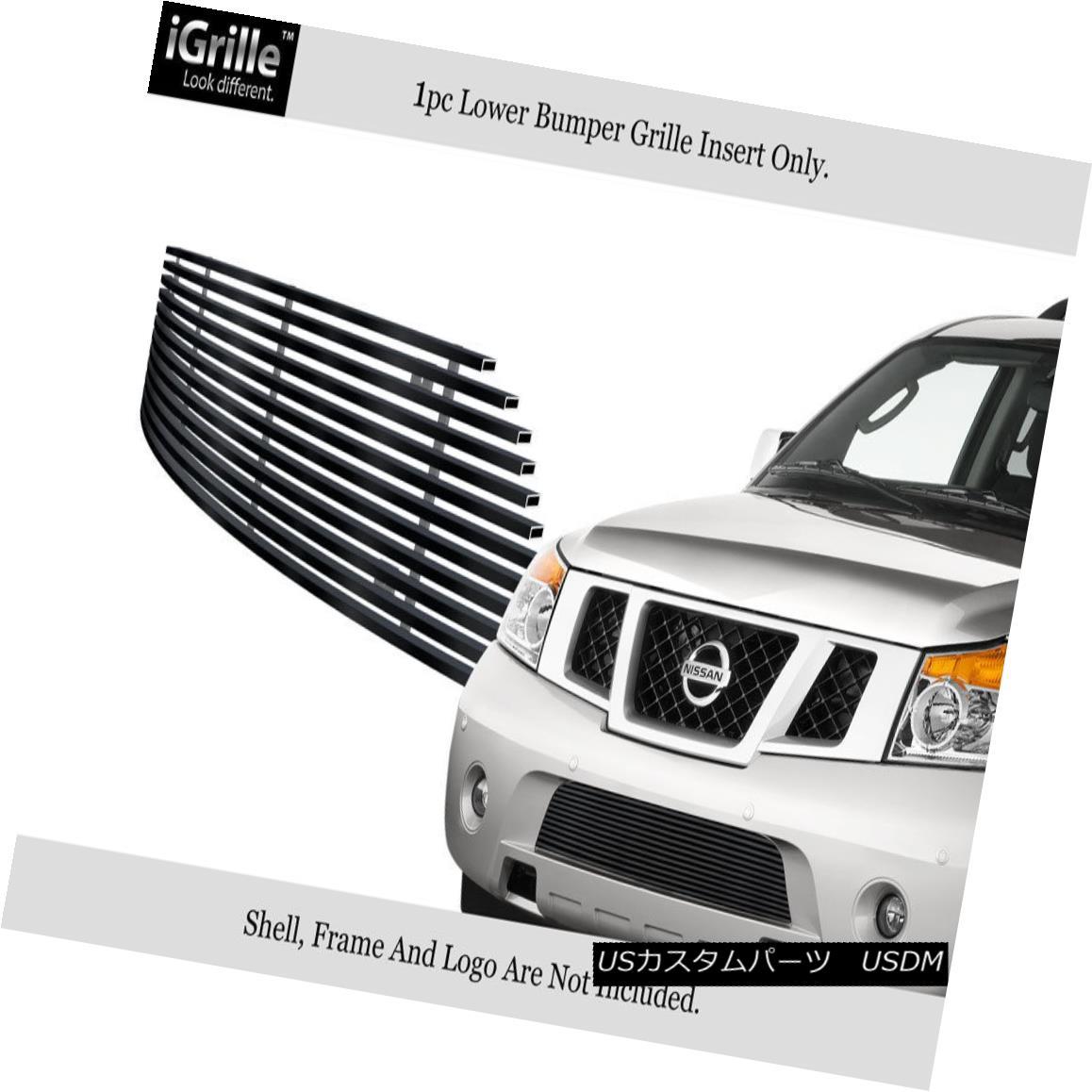グリル Fits 2008-2015 Nissan Armada Black Bumper Stainless Steel Billet Grille Insert フィット2008-2015日産アルマダブラックバンパーステンレス鋼ビレットグリルインサート
