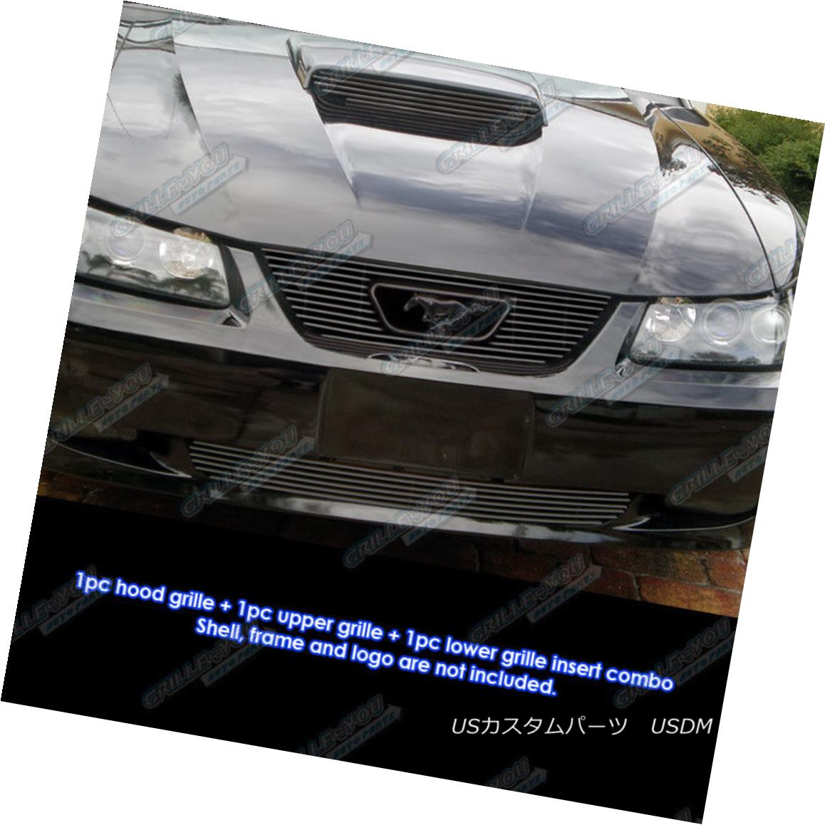 グリル Fit 99-04 Ford Mustang GT V8 Logo Show Black Billet Grille Grill Combo Insert フィット99 - 04フォードマスタングGT V8ロゴショーブラックビレットグリルグリルコンボインサート