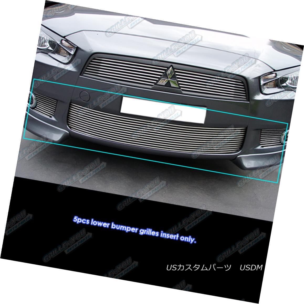 グリル Fits 2008-2015 Mitsubishi Lancer With Fog Light Bumper Grille Insert フィット2008-2015三菱ランサーフォグライトバンパーグリルインサート
