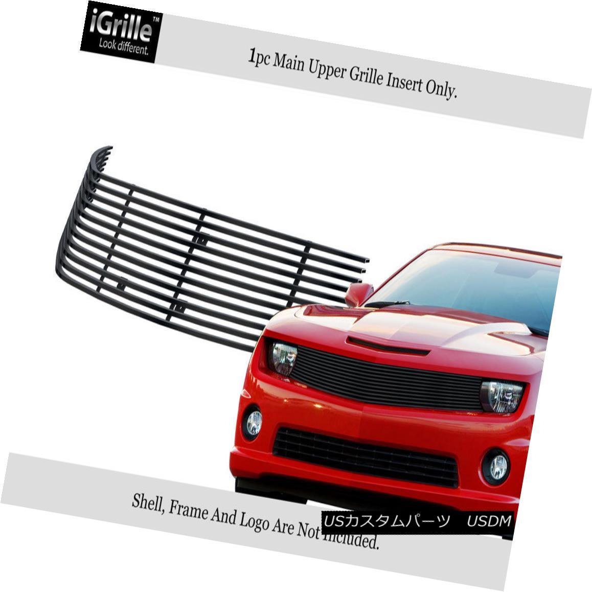 グリル Fits 2010-2013 Chevy Camaro LT/LS/RS/SS Stainless Black Billet Grille Insert フィット2010-2013シボレーカマロLT / LS / RS / SSステンレスブラックビレットグリルインサート