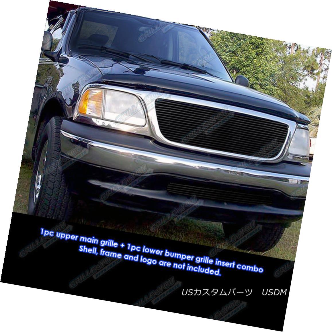 グリル Fits 99-03 Ford F-150 Bar Style 2WD Black Main Upper Billet Grille Set フィット99 - 03フォードF - 150バースタイル2WDブラックメインアッパービレットグリルセット
