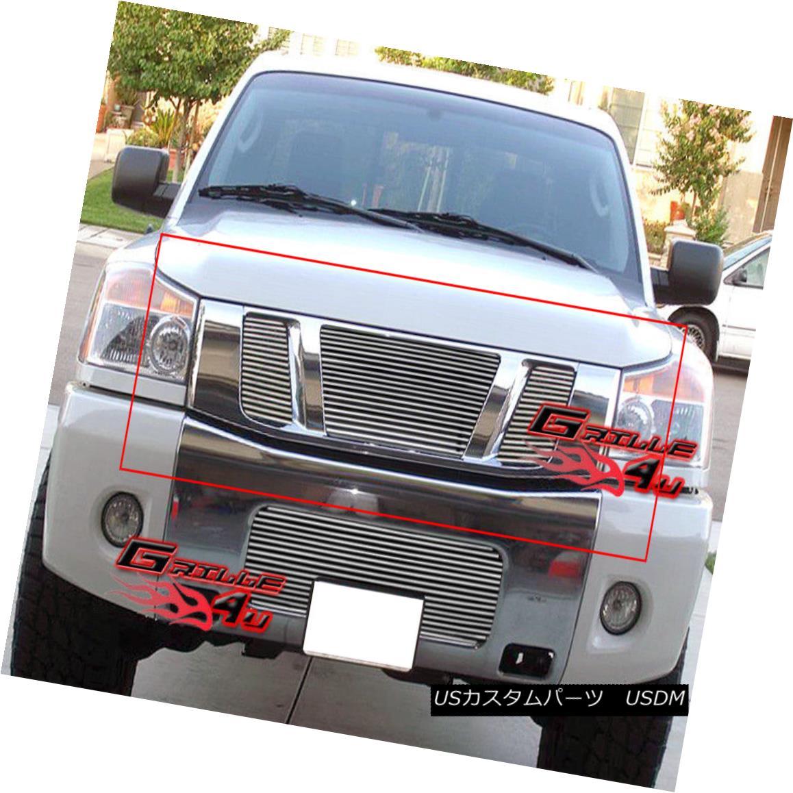 グリル Fits 2008-2015 Nissan Titan Main Upper Billet Grille Insert フィット2008-2015日産タイタンメインアッパービレットグリルインサート