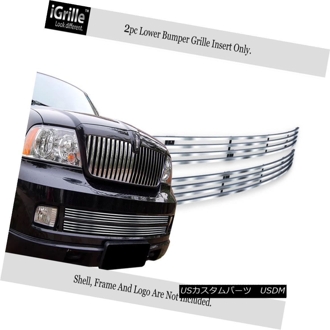 グリル Fits 2005-2006 Lincoln Navigator Bumper Stainless Steel Billet Grille Insert フィット2005-2006リンカーンナビゲータバンパーステンレス鋼ビレットグリルインサート