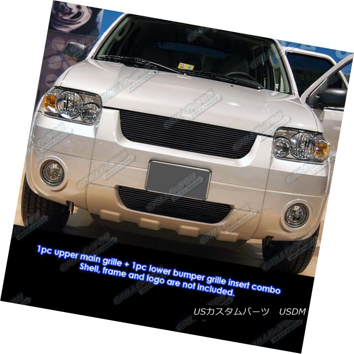 グリル Fits 2005-2007 Ford Escape Black Billet Grille Grill Combo Insert フィット2005-2007フォードエスケープブラックビレットグリルグリルコンボインサート