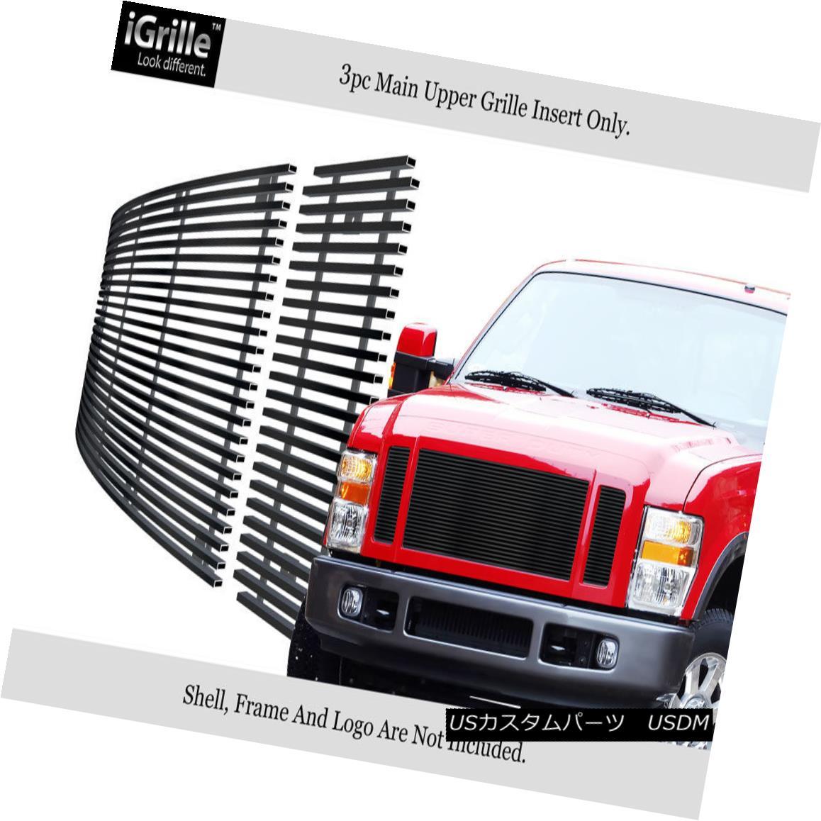 グリル For 08-10 Ford F250/F350/F450/ F550 Stainless Black Billet Grille Insert 08-10 Ford F250 / F350 / F450 / F550ステンレスブラックビレットグリルインサート