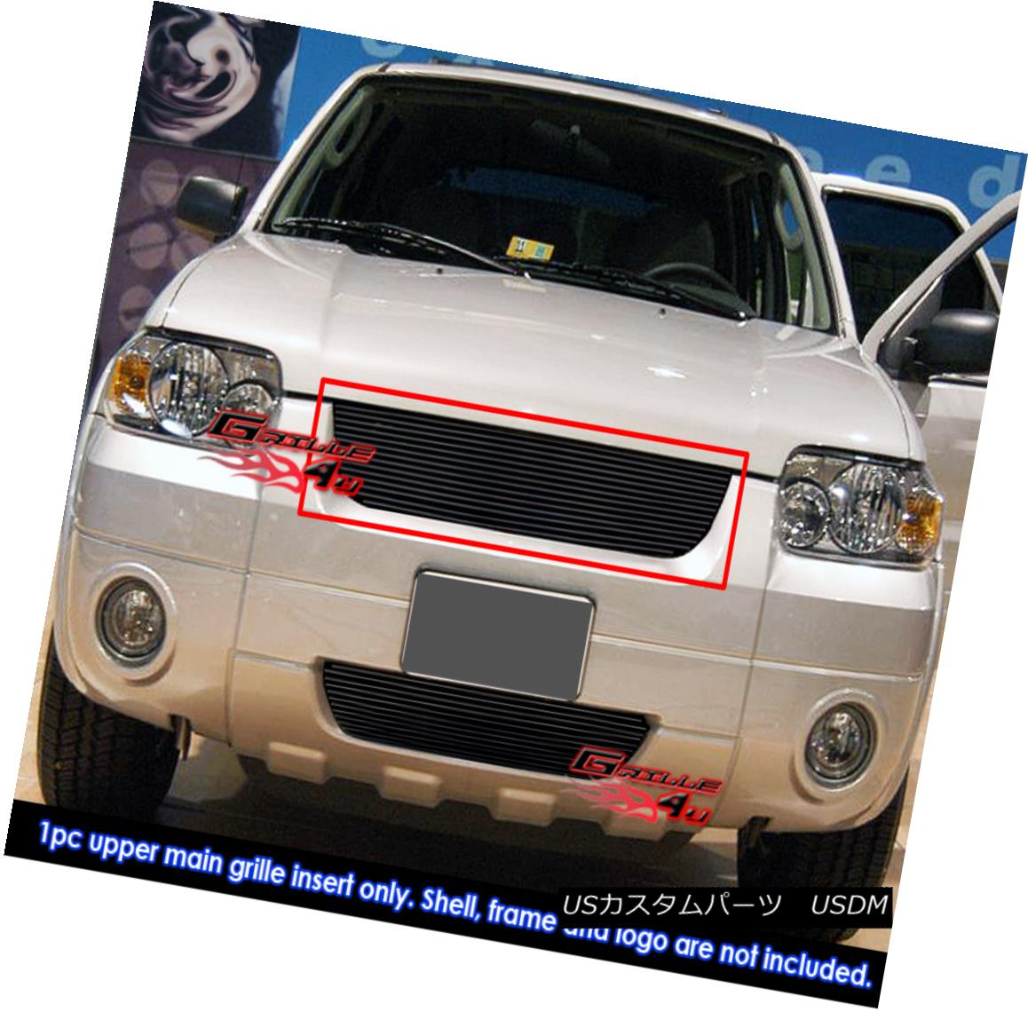 グリル Fits 2005-2007 Ford Escape Black Billet Grille Insert フィット2005-2007フォードエスケープブラックビレットグリルインサート