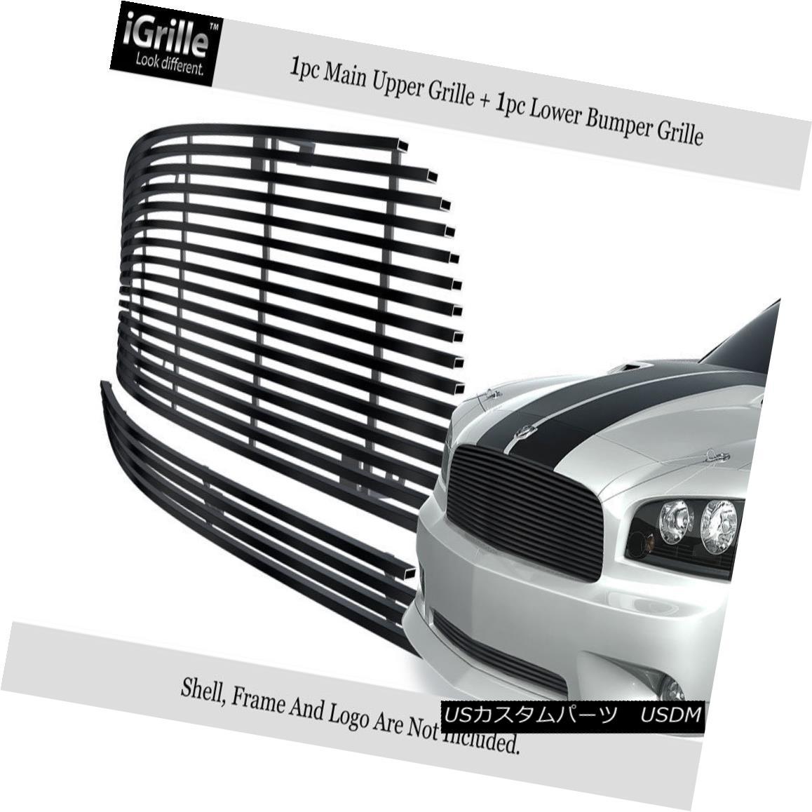 グリル Fits 2005-2010 Dodge Charger 304 Stainless Steel Black Billet Grille Combo フィット2005-2010ダッジチャージャー304ステンレススチールブラックビレットグリルコンボ