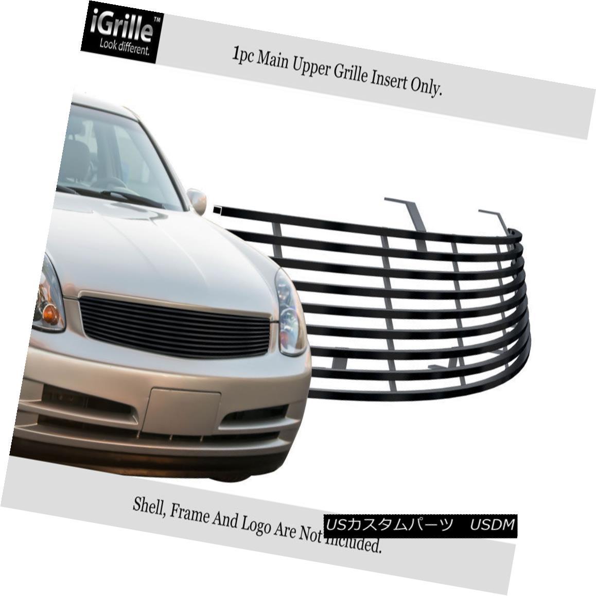 グリル Fits 2003-2004 Infiniti G35 Sedan Stainless Steel Black Billet Grille フィット2003-2004インフィニティG35セダンステンレススチールブラックビレットグリル