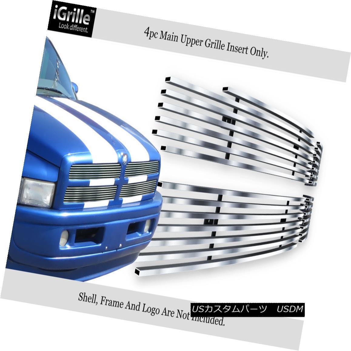 グリル Fits 1994-2001 Dodge Ram Pickup Stainless Steel Billet Grille Insert フィット1994年から2001年ダッジラムピックアップステンレス鋼ビレットグリルインサート