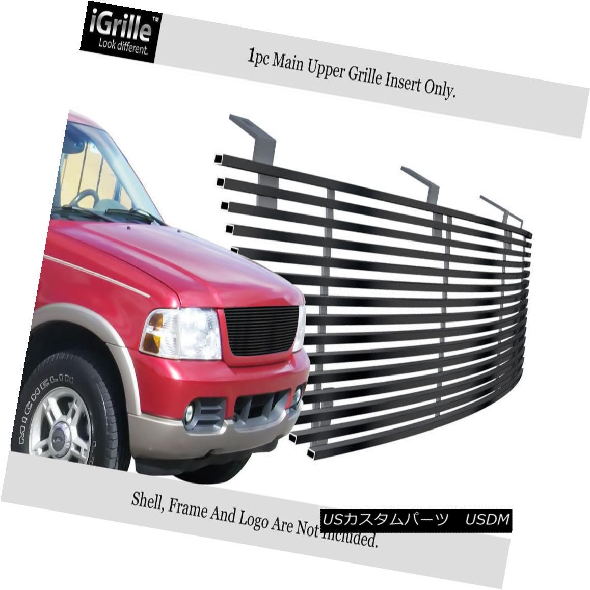 グリル For 2002-2005 Ford Explorer Black Stainless Steel Billet Grille Insert 2002 - 2005年フォードエクスプローラーブラックステンレススチールビレットグリルインサート