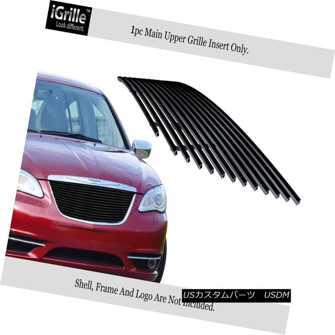 グリル For 2011-2014 Chrysler 200 Black Stainless Steel Billet Grille Grill Insert 2011-2014クライスラー200ブラックステンレス鋼ビレットグリルグリルインサート用