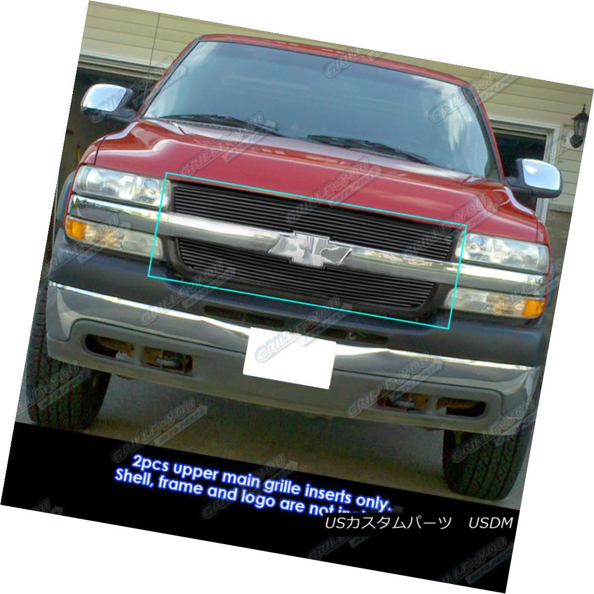 グリル Fits 01-02 Chevy Silverado 2500/3500 Black Main Upper Billet Grille フィット01-02シボレーシルバラード2500/3500ブラックメインアッパービレットグリル