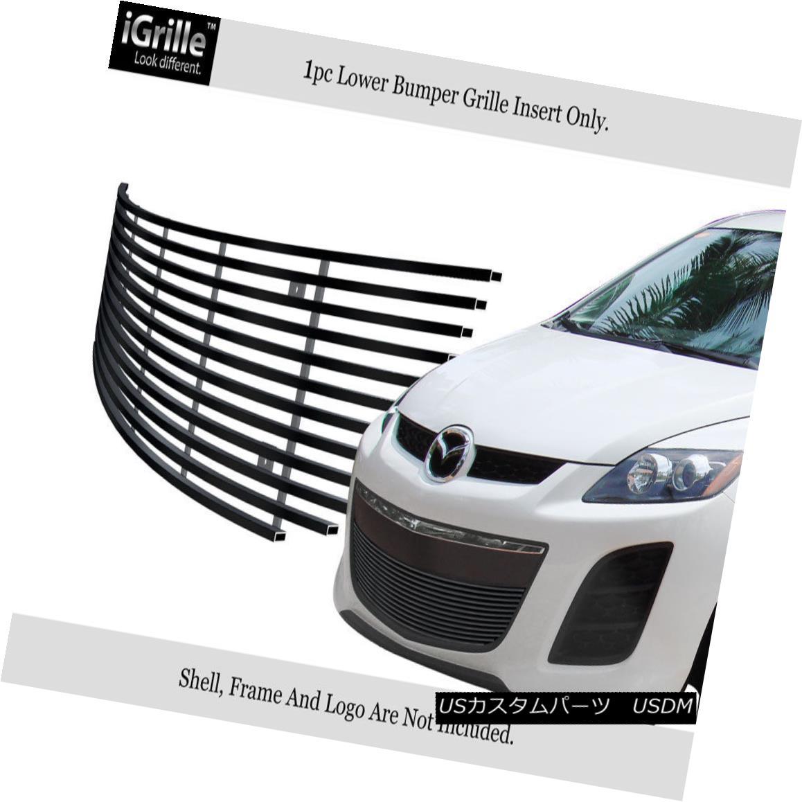 グリル Fits 2010-2012 Mazda CX-7 CX7 Black Bumper Stainless Steel Billet Grille Insert フィット2010-2012マツダCX - 7 CX7ブラックバンパーステンレス鋼ビレットグリルインサート