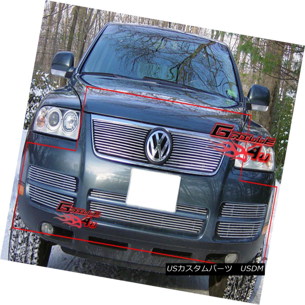 グリル Fits 2003-2007 Volkswagen VW Touareg V6 Billet Grille Combo フィット2003 - 2007年フォルクスワーゲンVWトゥアレグV6ビレットグリルコンボ