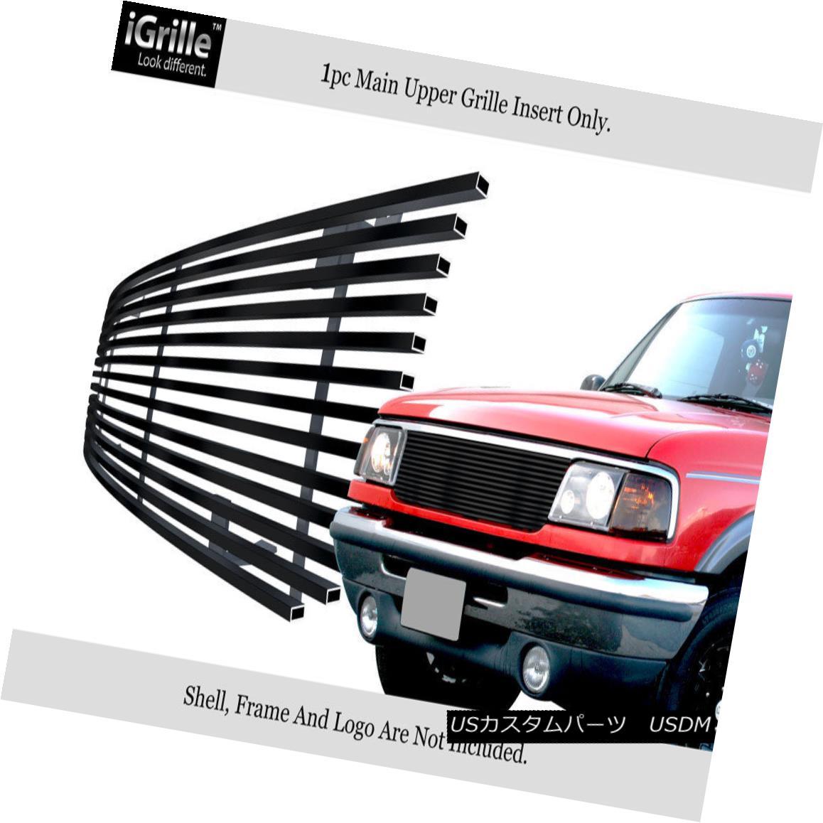 グリル Fits 1993-1997 Ford Ranger Black Stainless Steel Billet Grille Grill Insert フィット1993-1997フォードレンジャー黒ステンレス鋼ビレットグリルグリルインサート