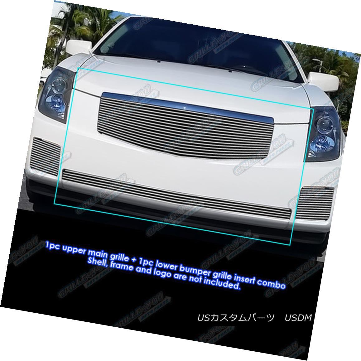 グリル Fits 2003-2007 Cadillac CTS Billet Grille Grill Combo Insert フィット2003-2007キャデラックCTSビレットグリルグリルコンボインサート