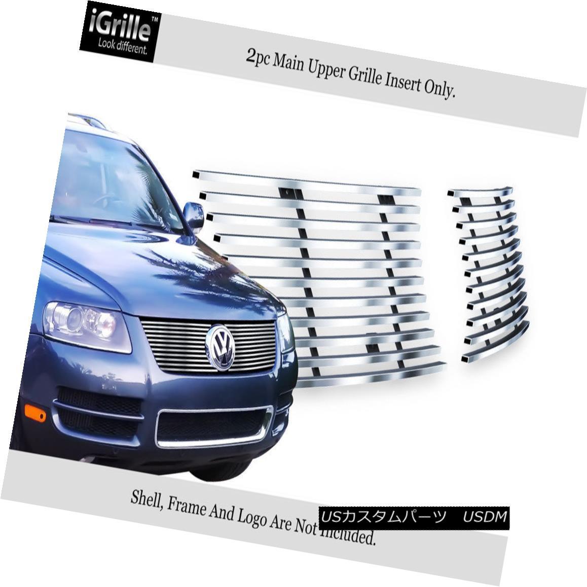 グリル Fits 03-07 VW Volkswagen Touareg Stainless Steel Billet Grille Insert フィット03-07 VWフォルクスワーゲントゥアレグステンレス鋼ビレットグリルインサート