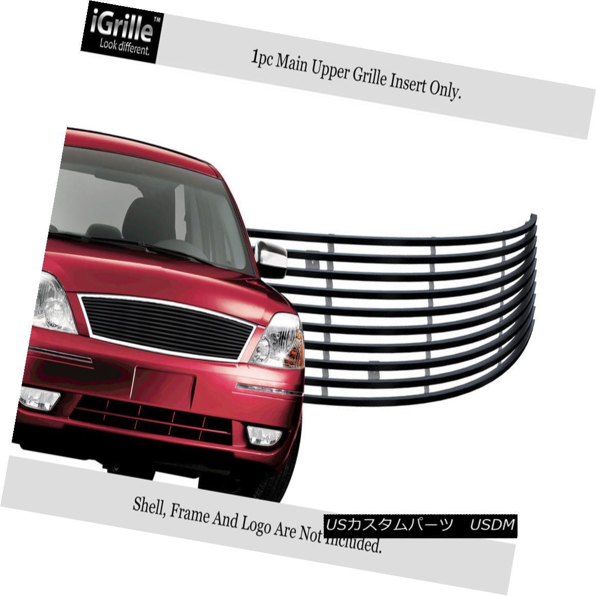 グリル Fits 2005-2007 Ford Five Hundred Stainless Black Billet Grille with Logo Covered 2005-2007 Ford Five Hundred Stainless Black Billetグリル(ロゴ付き)