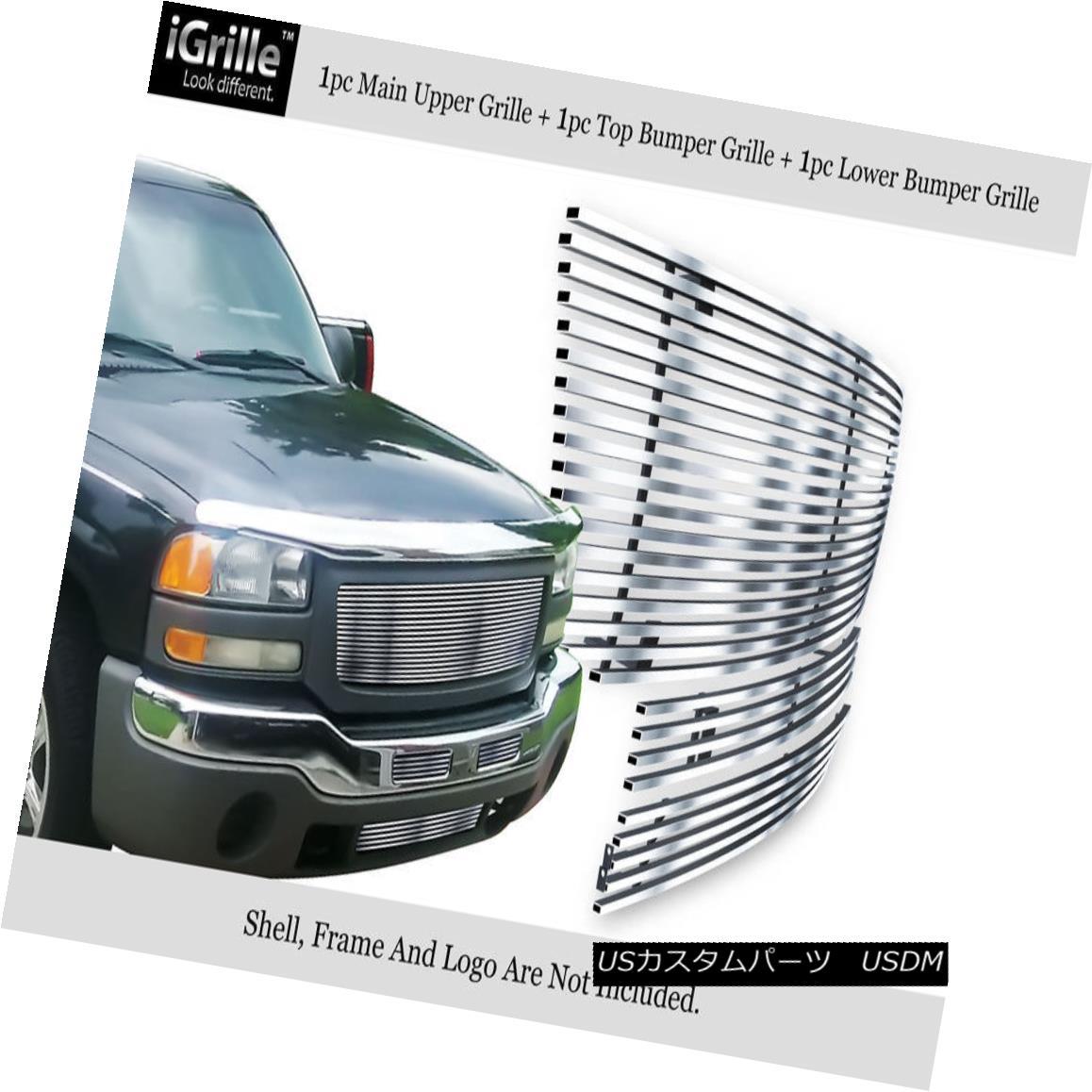 グリル Fits 2003-2006 GMC Sierra 1500/2500HD/3500 Stainless Billet Grille Combo 2003-2006 GMC Sierra 1500 / 2500HD / 35 00ステンレスビレットグリルコンボ