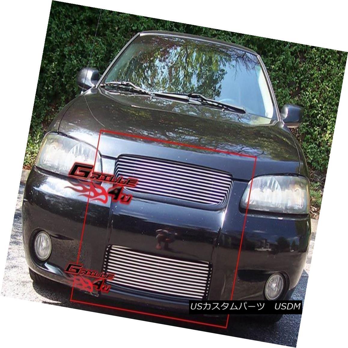 グリル Fits 2002-2003 Nissan Sentra SE-R Billet Grille Combo フィット2002-2003日産セントラSE-Rビレットグリルコンボ