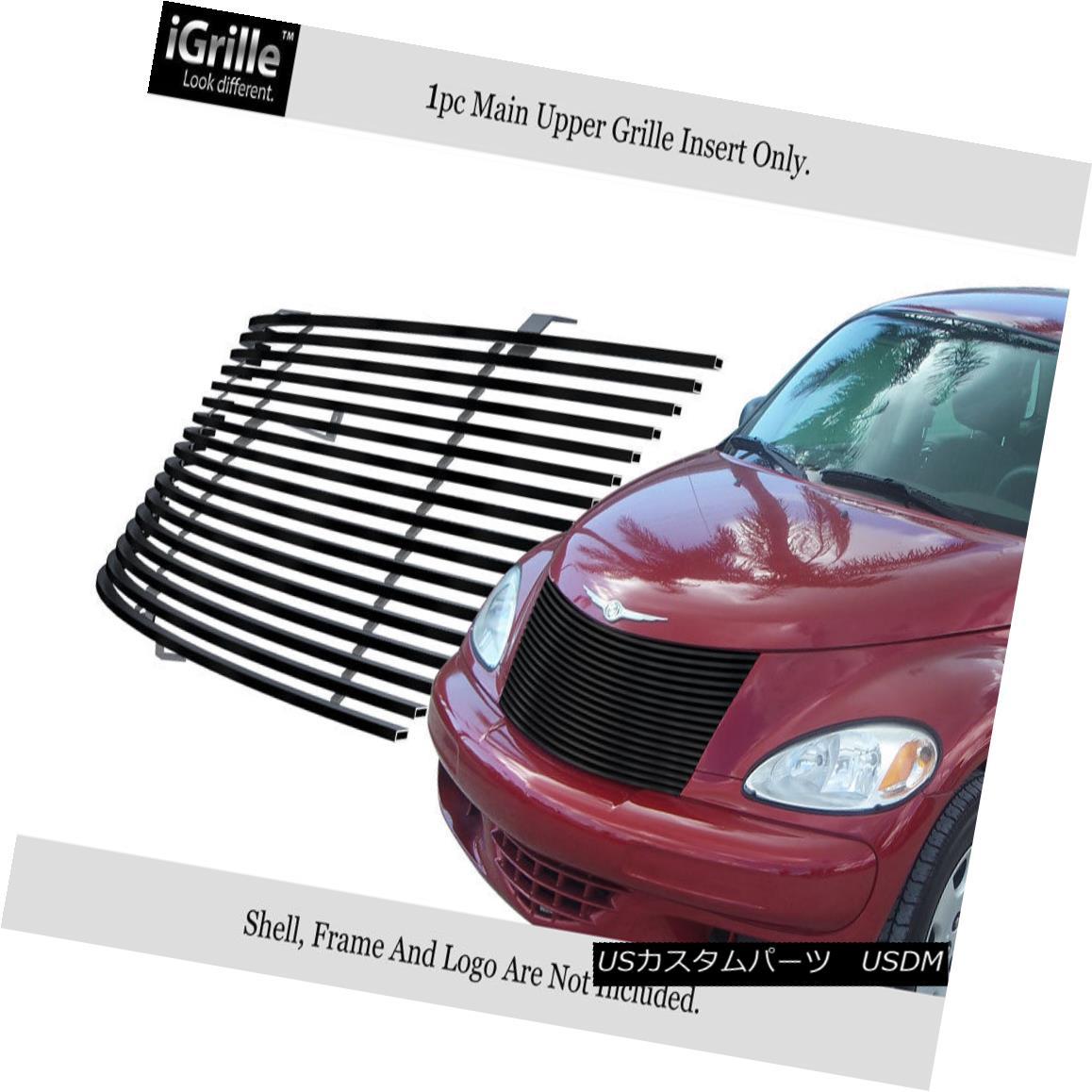 グリル Fits 2000-2005 Chrysler PT Cruiser Black Stainless Steel Billet Grille Insert 2000-2005年に適合するクライスラーPTクルーザーブラックステンレススチールビレットグリルインサート