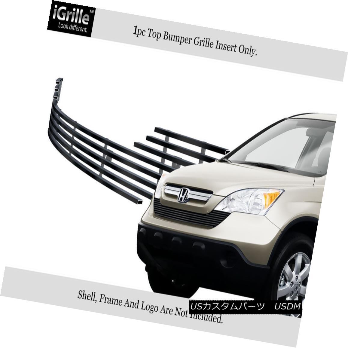 グリル Fits 2007-2009 Honda CR-V Black Bumper Stainless Steel Billet Grille Insert 2007-2009ホンダCR-Vブラックバンパーステンレススチールビレットグリルインサートに適合