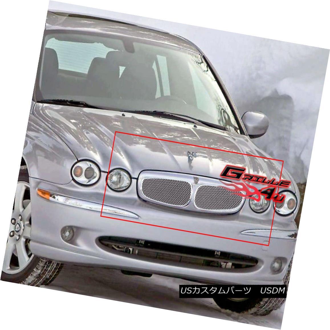 グリル Fits 2002-2006 Jaguar X Type Stainless Mesh Grille Insert 2002-2006 Jaguar X Typeステンレスメッシュグリルインサート