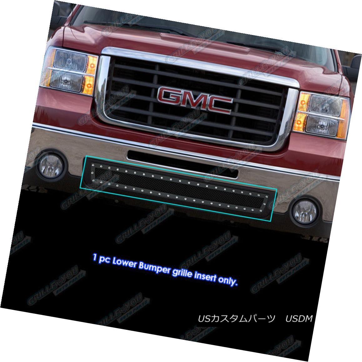グリル For 2007-2013 GMC Sierra 1500/07-10 2500 HD Stainless Black Mesh Rivet Grille 2007-2013 GMC Sierra 1500 / 07-10 2500 HDステンレスブラックメッシュリベットグリル