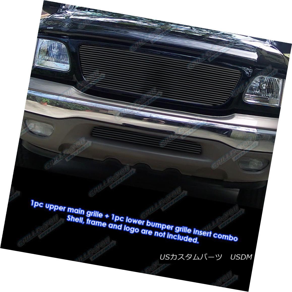 グリル Fits 1999-2003 Ford F-150 4WD Honeycomb Only Black Billet Grille Combo フィット1999-2003フォードF - 150 4WDハニカムのみブラックビレットグリルコンボ
