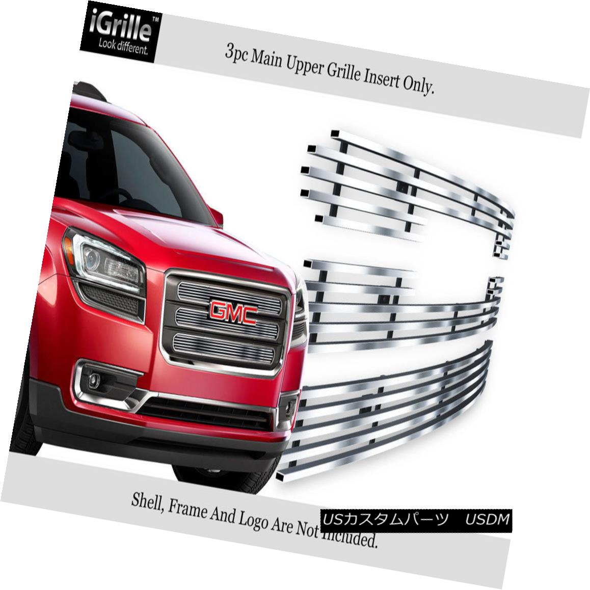 グリル For 2013-2015 GMC Acadia Chrome Stainless Steel Billet Grille with Logo Show 2013-2015 GMC Acadia Chromeステンレス鋼ビレットグリルロゴ付き