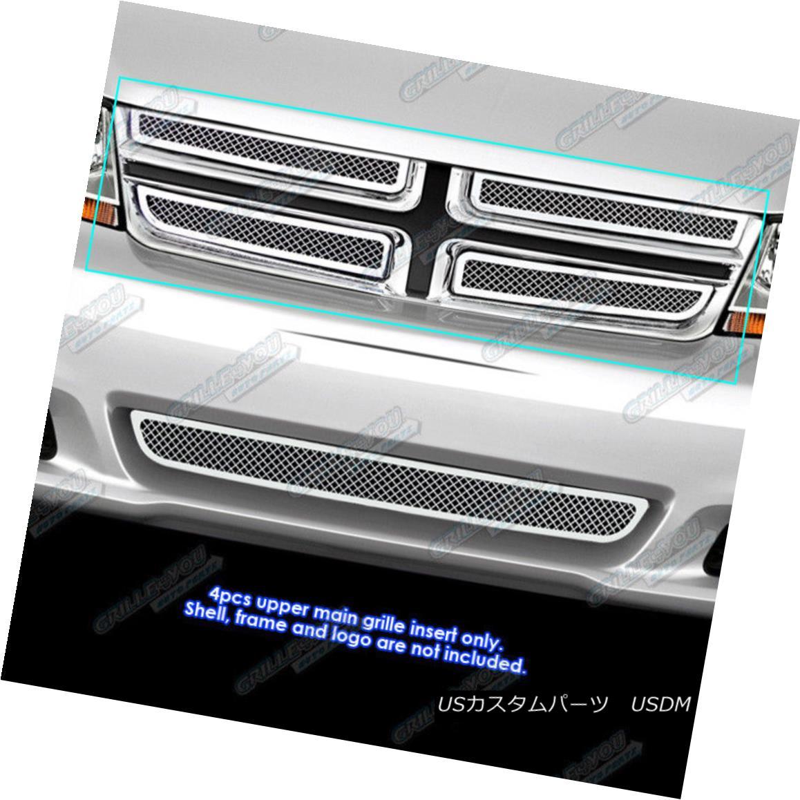 グリル Fits 2011-2013 Dodge Avenger Stainless Steel Mesh Grille Grill Insert 2011-2013 Dodge Avengerステンレスメッシュグリルグリルインサート