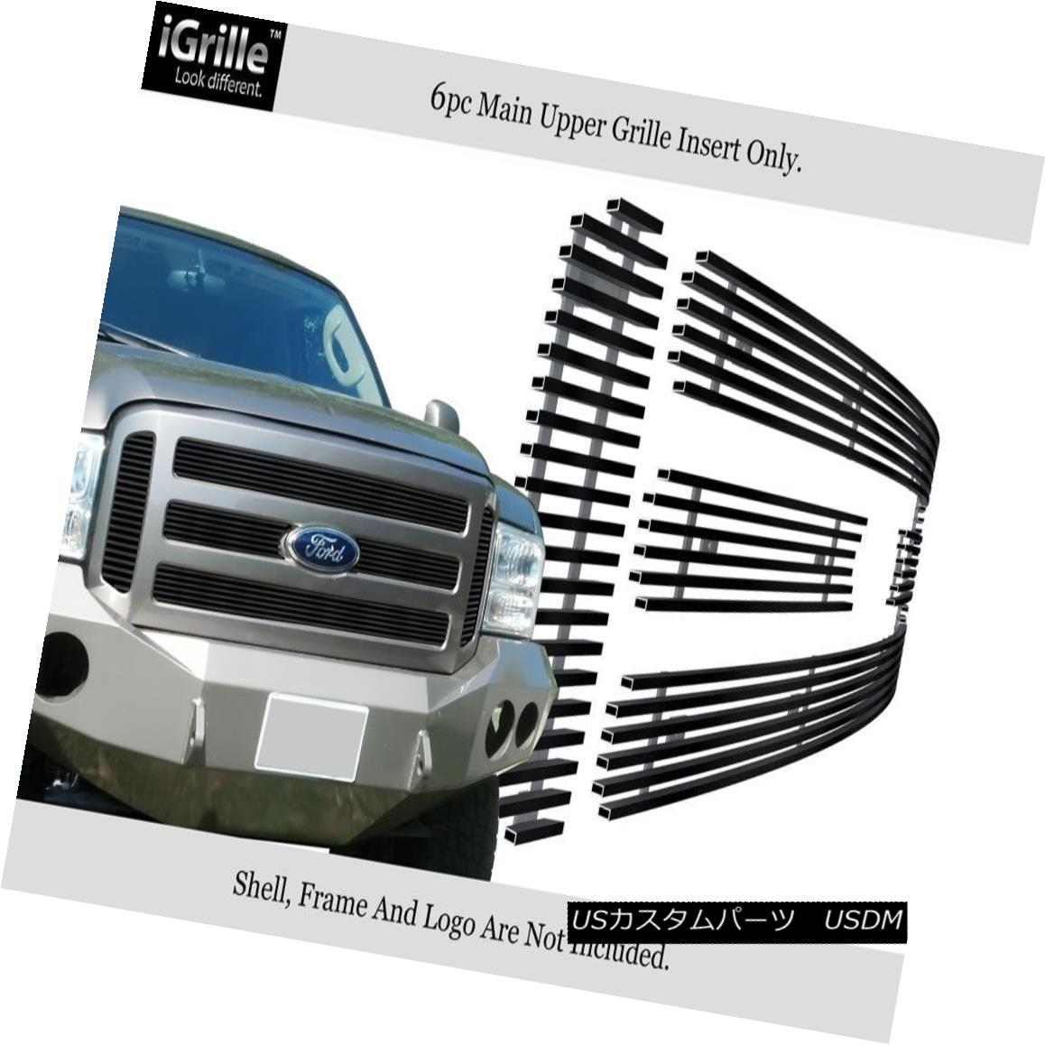 USグリル Fits 05-07 Ford F250/F350/Excursion Black Stainless Steel Billet Grille フィット05-07 Ford F250 / F350 / Excu rsionブラックステンレス鋼ビレットグリル
