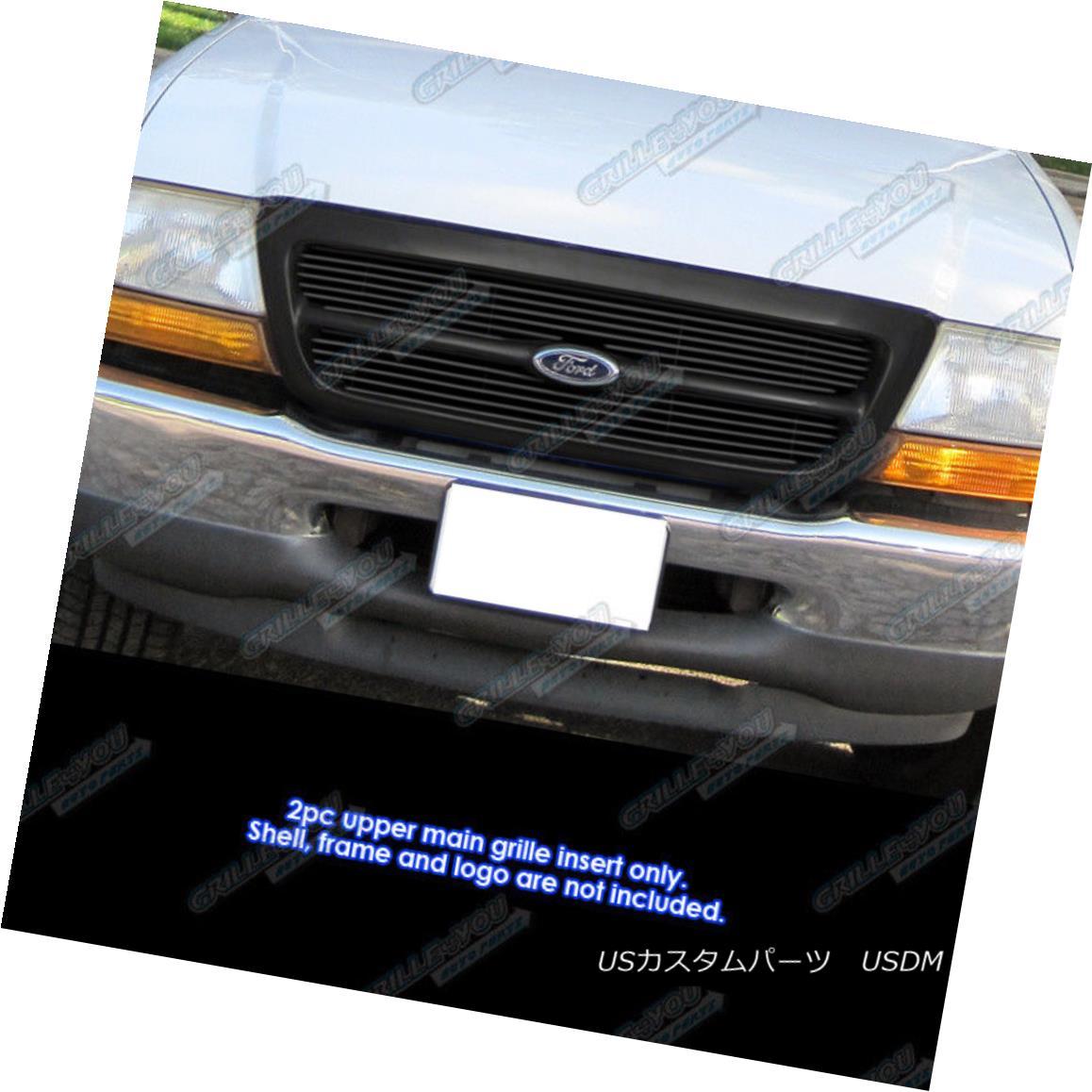 グリル Fits 1998-2000 Ford Ranger Black Biller Grille Grill Insert for 2WD only フィット1998-2000フォードレンジャーブラックビレットグリルグリル2WDのみの挿入