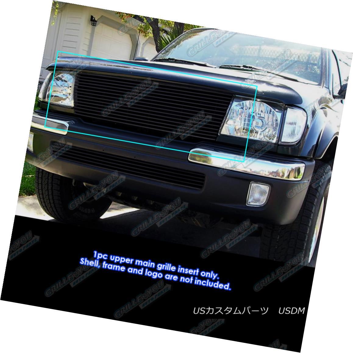 グリル Fits 1998-2000 Toyota Tacoma Black Billet Grille Grill Insert フィット1998年から2000年トヨタタコマブラックビレットグリルグリルインサート