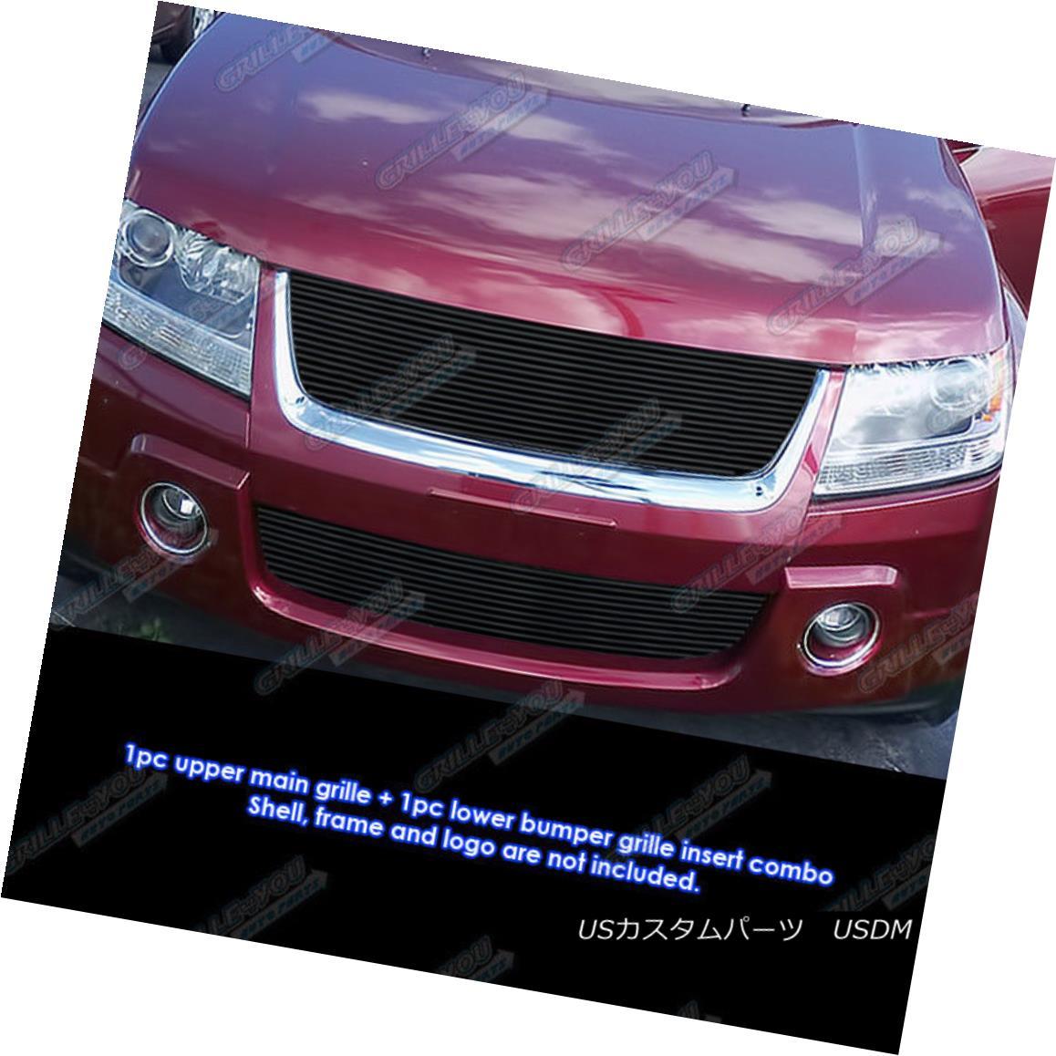 グリル Fits 2006-2011 Suzuki Grand Vitara Black Billet Grille Combo 2006?2011年スズキグランヴィタラブラックビレットグリルコンボ