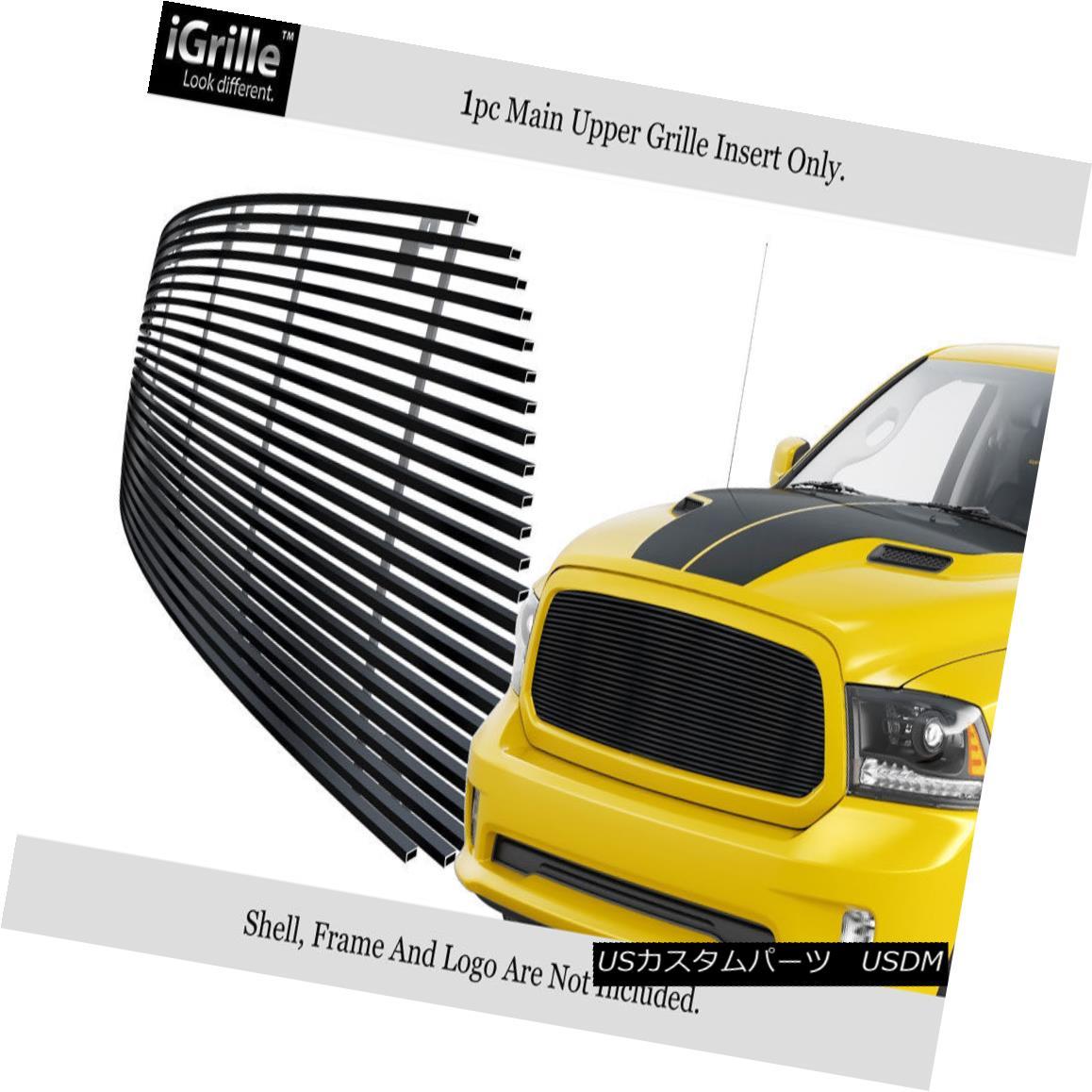 グリル Fits 2013-2018 Ram 1500 Stainless Steel Black Main Upper Billet Grille フィット2013-2018ラム1500ステンレススチールブラックメインアッパービレットグリル