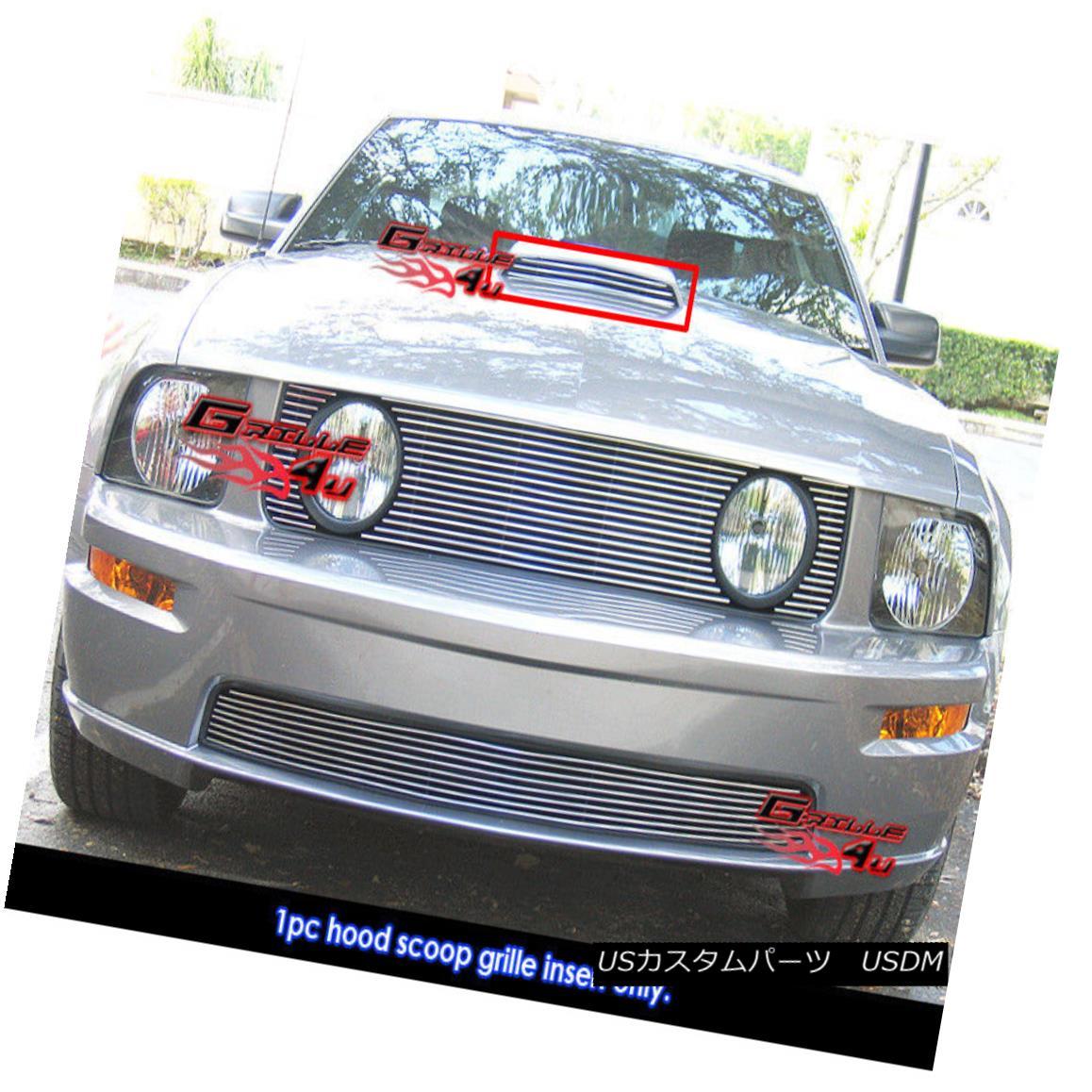 グリル Fits 2005-2009 Ford Mustang GT V8 Hood Scoop Main Upper Billet Grille フィット2005-2009フォードマスタングGT V8フードスクープメインアッパービレットグリル